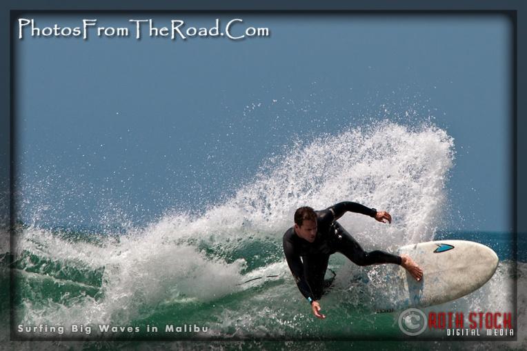 Surfing Big Waves in Malibu, California
