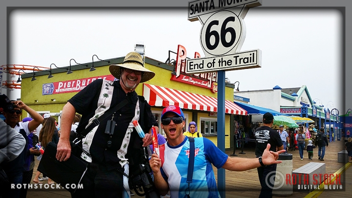 (L-R) Lee Roth and Zach McCall handing out SWAG on the Santa Monica Pier.