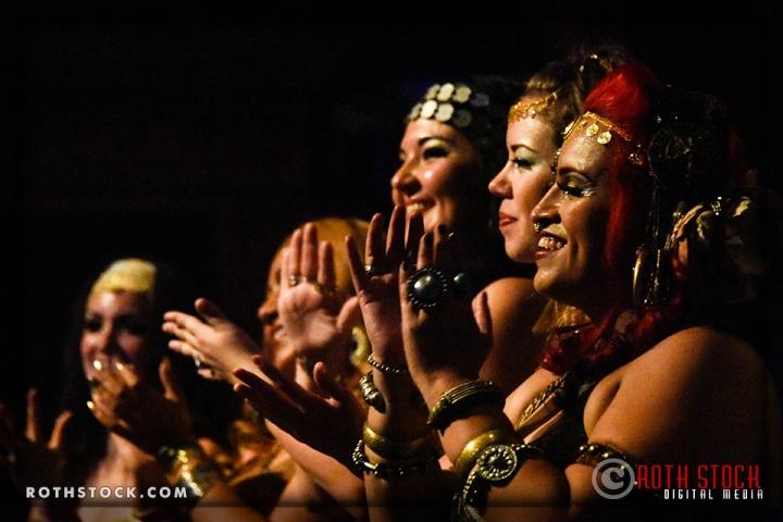 (L-R) Belly Dancers Aubre Hill, Belen Garibaldi, Shana Raqs, Chloe Vanderhaven and Jenn Aguilar of the Limina Bellydance Co.