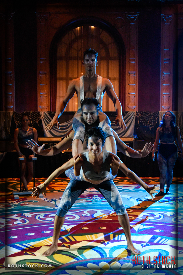 Acrobats Mod Plank (front), Alan Ascensio (center) and Alexander Plank (top) of EMCirque