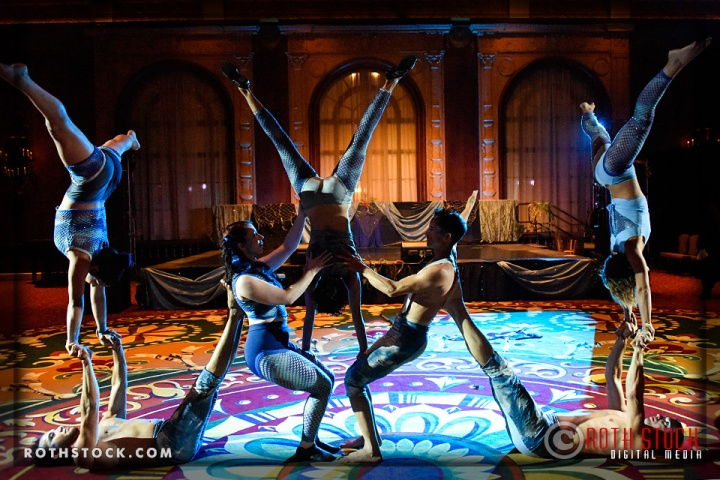 Acrobats perform at the 18th Annual Labyrinth Of Jareth Masquerade Ball