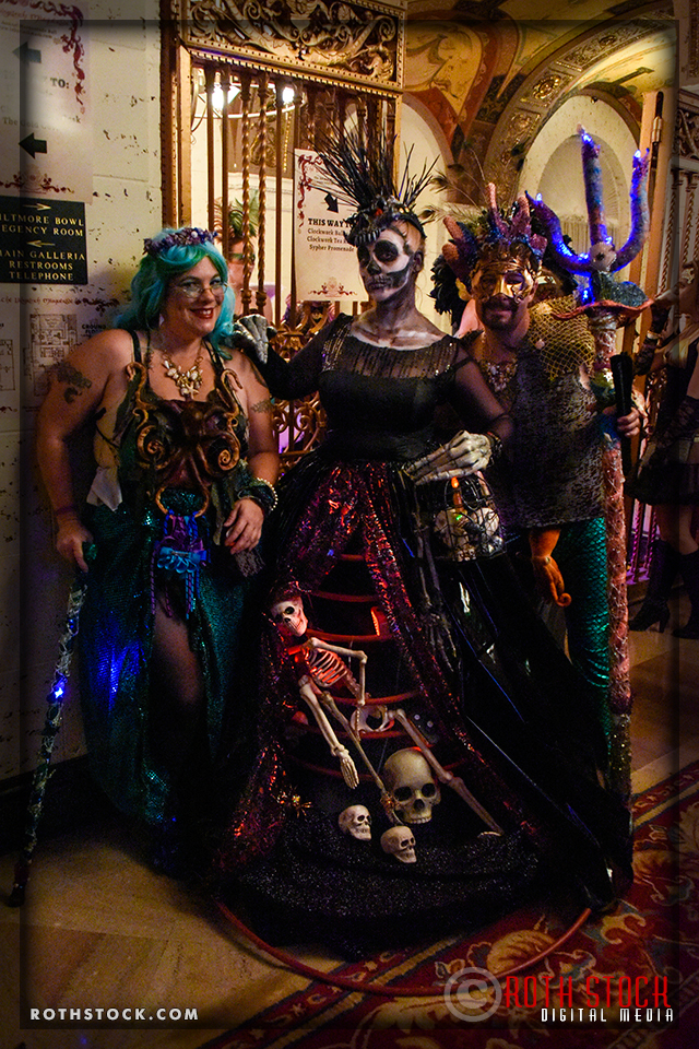 (L-R) Alivia Hunter, Catherine Madinger and Steven Wingert attend the 18th Annual Labyrinth Of Jareth Masquerade Ball