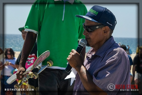 "MC ""Skatemaster Tate"" works the mic at Life Rolls On ""They Will SKATE Again"""