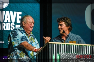 (L-R) Surf legend Greg Noll and current star Greg Long