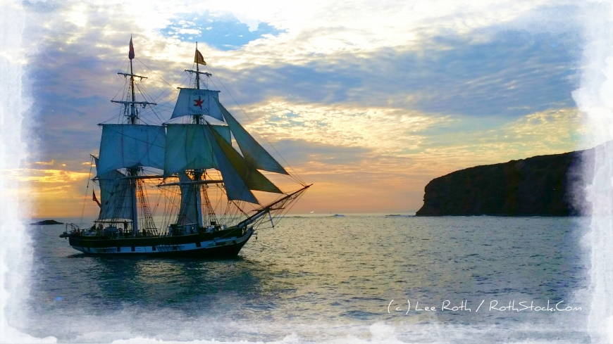 The Brig Pilgrim off of Dana Point Headlands leads the Sunset Parade of Tall Ships