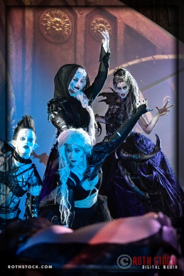 Actresses (L-R) Tara Shannon, Meggan Amos, Natty Kittyface and Jen Giragos as the Spider Queen and her Court