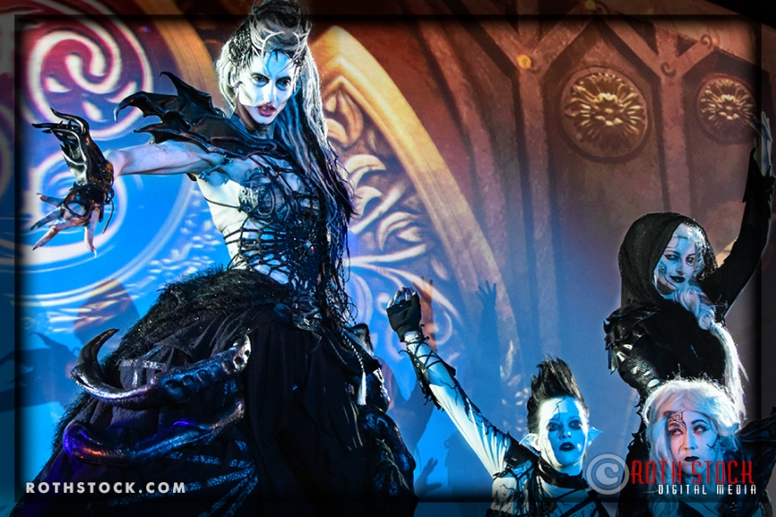 """Actress Jen Giragos as the """"Spider Queen"""" with her court - Tara Shannon, Meggan Amos (lower right) and Natty Kittyface"""