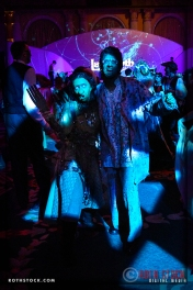 Goblins Leanna Breauxni and Joe Filippone dance with guests at the 18th Annual Labyrinth Of Jareth Masquerade Ball