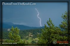 Lightning strikes the south face of Pikes Peak in the Colorado Rocky Mountains.