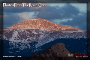 Pikes Peak (left) and Dome Rock (foreground)
