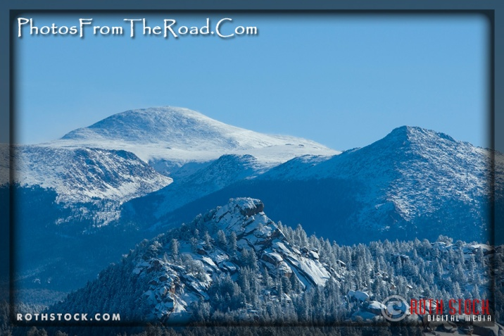 Pikes Peak after a winter snow storm in the Colorado Rocky Mountains.