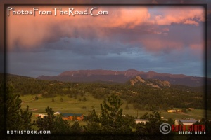 Storm clouds in the evening light over Pikes Peak in the Colorado Rockies.