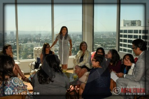 Eva Longoria enjoys time with the honorees.