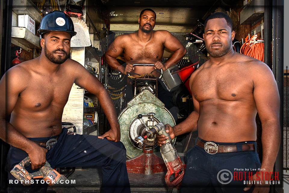 Redway Brothers (L-R) Owen, Drew and Leonard - LA's Sexiest Plumbers
