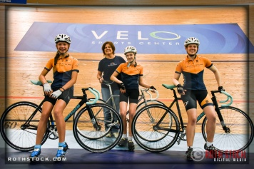 Cyclists Kayla Novak, Connie Paraskevin, Kira Russalov and Katie Russalov