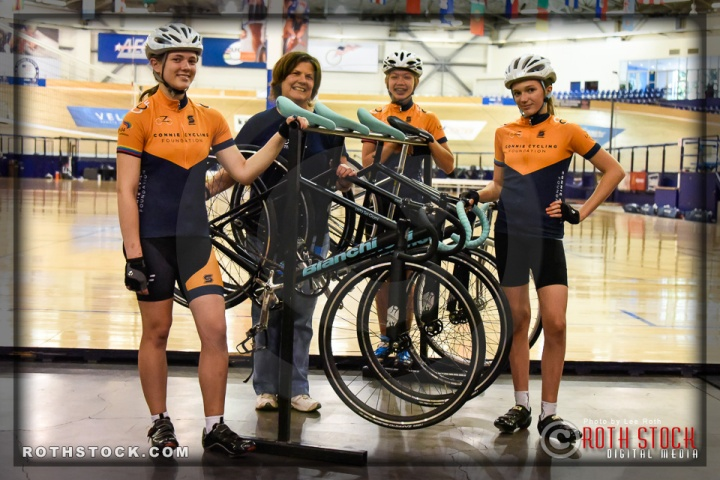 Cyclists Katie Russalov, Connie Paraskevin, Kayla Novak and Kira Russalov