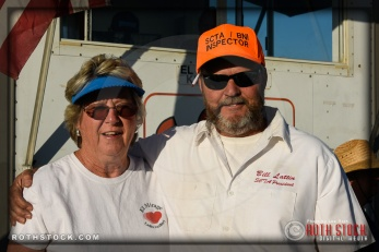 (L-R) JoAnn Carlson, media relations, and Bill Lattin, vice president at SCTA - Southern California Timing Association's Land Speed Races at El Mirage Dry Lake