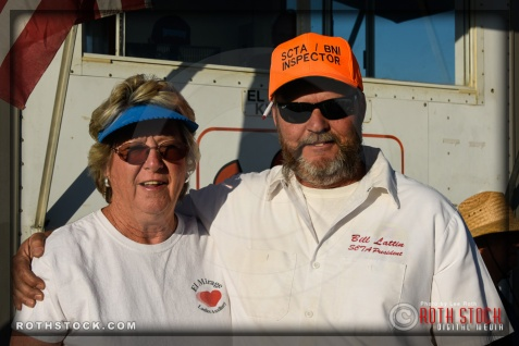 (L-R) JoAnn Carlson, media relations, and Bill Lattin, vice president at SCTA - Southern California Timing Association's Land Speed Races at El Mirage Dry Lake