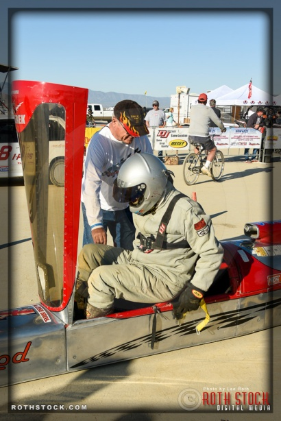 Rider Derek McLeish of Team McLeish Bros. prepares for his 172.374mph run at SCTA - Southern California Timing Association's Land Speed Races at El Mirage Dry Lake