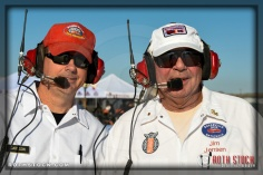 Starting officials (L-R) Ken Carlson and Jim Jensen on the starting line at SCTA - Southern California Timing Association's Land Speed Races at El Mirage Dry Lake