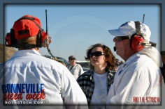 Chief timer Ruth MacLean (C) and starting official Jim Jensen (R) at SCTA - Southern California Timing Association's Land Speed Races at El Mirage Dry Lake