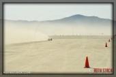 Rider Derek McLeish of Team McLeish Bros. on his 172.374 mph run at SCTA - Southern California Timing Association's Land Speed Races at El Mirage Dry Lake