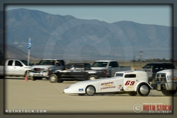 Driver Bill Lattin of Lattin & Stevens on his 173.253 mph run at Southern California Timing Association's Land Speed Races at El Mirage Dry Lake