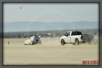 Driver Bill Lattin of Lattin & Stevens on his 173.253 mph run at Southern California Timing Association's Land Speed Races at El Mirage Dry Lake