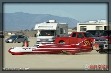 Driver Don Ferguson III of Ferguson - Macmillan on his 250.698 mph run at SCTA - Southern California Timing Association's Land Speed Races at El Mirage Dry Lake