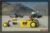 Driver Alan Fogliadini of BMR Racing on his 241.732 mph run at SCTA - Southern California Timing Association's Land Speed Races at El Mirage Dry Lake