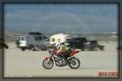 Rider Billy Jahn of Jahn Bros. Racing on his 98.673 mph run at SCTA - Southern California Timing Association's Land Speed Races at El Mirage Dry Lake