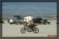 Rider Billy Jahn of Jahn Bros. Racing on his 98.673 mph run at SCTA - Southern California Timing Association's Land Speed Races at El Mirage Dry Lake
