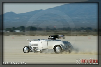 Driver Willie Martin of San Bardoo Roadsters on his 191.91 mph run at SCTA - Southern California Timing Association's Land Speed Races at El Mirage Dry Lake