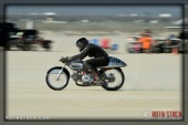 Rider Mark Summitt of Woody's Aermacchi on his 119.203 mph run at SCTA - Southern California Timing Association's Land Speed Races at El Mirage Dry Lake