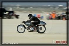 Rider Mark Summitt of Woody's Aermacchi on his 119.203 mph run at SCTA - Southern California Timing Association's Land Speed Races at El Mirage Dry Lake