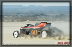 Driver Dave Davidson of Cummins Beck Davidson Thorns on his 255.963 mph run at SCTA - Southern California Timing Association's Land Speed Races at El Mirage Dry Lake