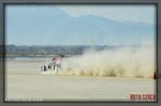 Driver Dave Davidson of Cummins Beck Davidson Thorns on his 255.963 mph run at SCTA - Southern California Timing Association's Land Speed Races at El Mirage Dry Lake