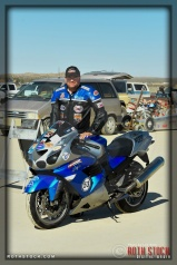 "Rider Steve ""Papi"" Chappell of Shooting Star prepares for his 196.238 mph run at SCTA - Southern California Timing Association's Land Speed Races at El Mirage Dry Lake"