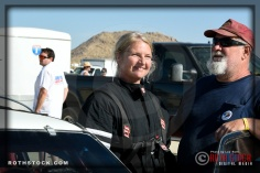 Driver Valerie Fenn of Salted Peanut prepares for her 105.411 mph run at SCTA - Southern California Timing Association's Land Speed Races at El Mirage Dry Lake
