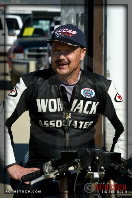 Rider Pat Womack of Womack LSR prepares for his 180.829 mph run at SCTA - Southern California Timing Association's Land Speed Races at El Mirage Dry Lake