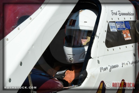 Driver Fred Dannenfelzer of DMP Racing prepares for his run at SCTA - Southern California Timing Association's Land Speed Races at El Mirage Dry Lake