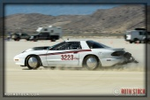 Driver David Gomer of David Gomer Racing on his 196.618 mph run at SCTA - Southern California Timing Association's Land Speed Races at El Mirage Dry Lake