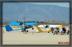 Ultralights contribute to race camp atmosphere at SCTA - Southern California Timing Association's Land Speed Races at El Mirage Dry Lake