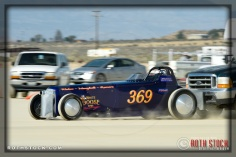 Driver Greg Waters of Waters / Manghelli / Romero on his 214.484 mph run at SCTA - Southern California Timing Association's Land Speed Races at El Mirage Dry Lake