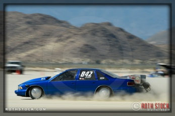 Driver Ron Delcourt of Brick Racing on his 185.134 mph run at SCTA - Southern California Timing Association's Land Speed Races at El Mirage Dry Lake