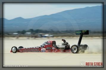 Driver Al Eshenbaugh of Steinegger & Eshenbaugh on his 198.012 mph run at SCTA - Southern California Timing Association's Land Speed Races at El Mirage Dry Lake