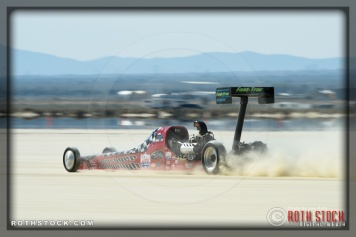 Driver Al Eshenbaugh of Steinegger & Eshenbaugh on his 198.012 mph run at SCTA - Southern California Timing Association's Land Speed Races at El Mirage Dry Lake