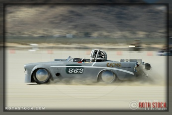 Driver Frank Liautaud of Belalpine on his 148.085 mph run at SCTA - Southern California Timing Association's Land Speed Races at El Mirage Dry Lake