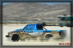 Driver Tom Hanley of White Goose Bar Racing on his 131.352 mph run at SCTA - Southern California Timing Association's Land Speed Races at El Mirage Dry Lake