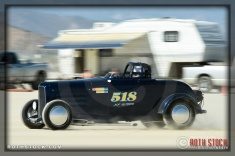 Driver Kelsey Griffin of Griffin Racing on his 132.84 mph run at SCTA - Southern California Timing Association's Land Speed Races at El Mirage Dry Lake